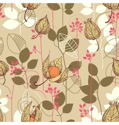 Fall pattern Fruits and leaves in autumn colors vector