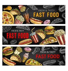 Fastfood menu fast food burgers and sandwiches vector