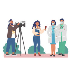Female journalist cameraman interviewing medical vector