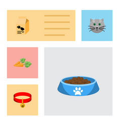 flat icon animal set of root vegetable kitty vector image