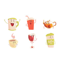 funny drinks cartoon characters collection cola vector image