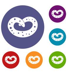 German pretzel icons set vector