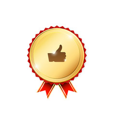 Gold badge with thumb up sign vector