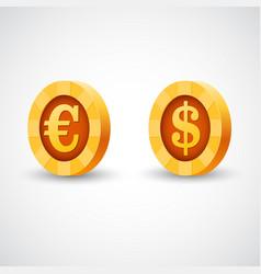 Gold coin of dollar anf euro vector