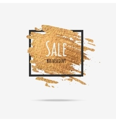 Gold sale background in frame vector image