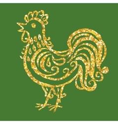 golden glitter rooster vector image