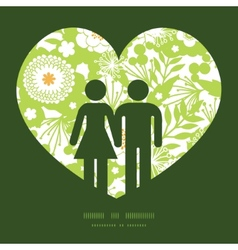 Green and golden garden silhouettes couple vector