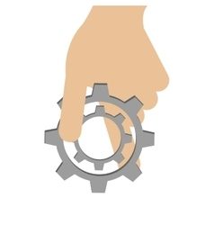 hand holding single gear icon vector image