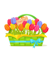 happy easter note in tulips bouquet vector image