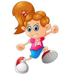 happy little girl walking vector image