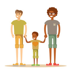Happy mixed-race gay family with son vector