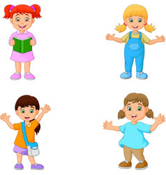 Happy school children cartoon vector