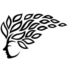 Icon face and leaf tattoo isolated vector