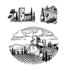 Ink sketches italian views vector