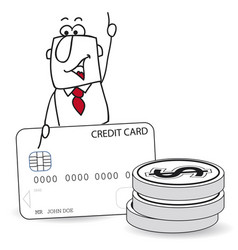 joe is a consumer he uses his credit card for his vector image