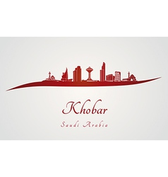 Khobar skyline in red vector image