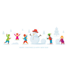 kids or children build a snowman and playing snow vector image