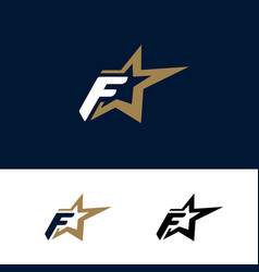 Letter f logo template with star design element vector