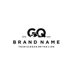Letter gq mountain logo design vector