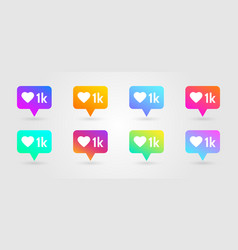 like and heart icons set social network symbol vector image