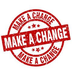 Make a change round red grunge stamp vector