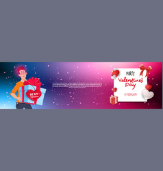 man holding present gift box happy valentines day vector image