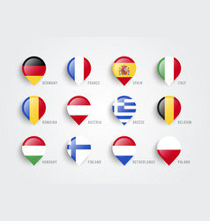 map pointers with flag europe vector image