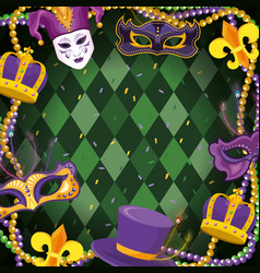 Mardi gras decoration with neclace balls vector