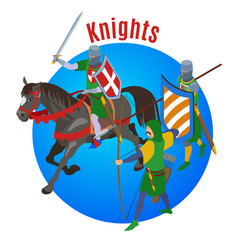 medieval knights circle background vector image