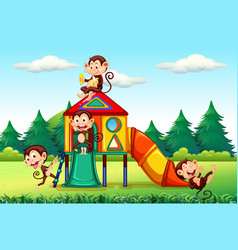 Monkey playing in playground vector