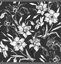 Monochrome floral seamless pattern with hand drawn vector