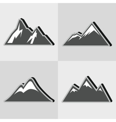 Mountain gray icons with black shadow vector
