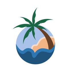 palm trees tropical circular sign travel island vector image