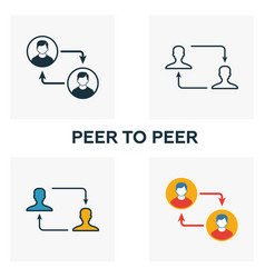 peer to peer icon set four elements in diferent vector image