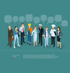 people crowd with speech bubbles vector image