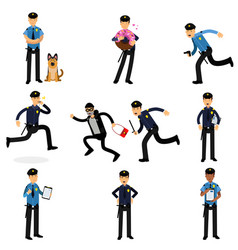 policeman characters doing their job set vector image