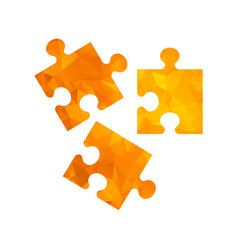 polygon golden icon puzzle vector image