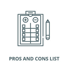 Pros and cons list line icon linear vector