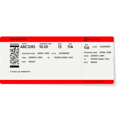 Realistic airline ticket or boarding pass design vector
