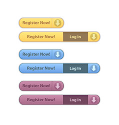 Register now modern minimal button collection vector