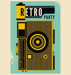retro party vintage grunge poster with camera vector image