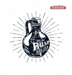 Retro rum bottle label design Vintage alcohol vector