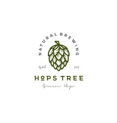 Retro vintage hops flower for beer ale brewery vector
