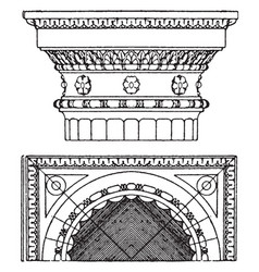 Roman-doric capital an antique design vintage vector