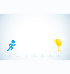Running man with trophy and text startup concept vector