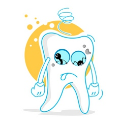 Sad teeth vector