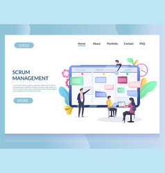 scrum management website landing page vector image