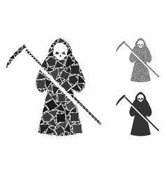 Scytheman mosaic icon unequal elements vector