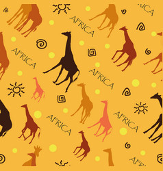seamless pattern with giraffes on yellow vector image