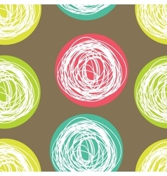 seamless pattern with scribbles circles vector image